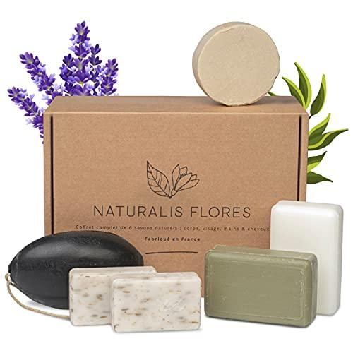 NATURALIS FLORES® – Coffret 6 Savons et Shampoing Solide BIO & Naturels – Corps,...