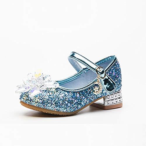 Zapatos de piel para nios, Aisha Princesa, zapatos de cristal para nias, zapatos de vestir con purpurina para nias, zapatos de princesa, bodas, fiestas, flores, color azul, 29