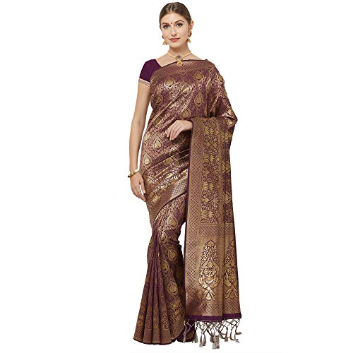 IDIKA Banarasi Art Silk Woven Saree with Blouse Piece (Dark Purple)
