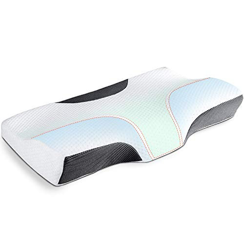 Cervical Pillow Contour Memory Foam Pillow Orthopedic Sleeping Pillows Ergonomic Cervical Pillow for Neck Pain, Side Sleepers, Back and Stomach Sleepers (White)