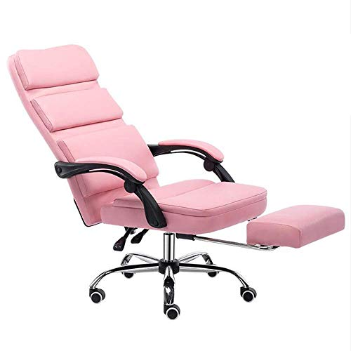 DX Office Chair Reclining Executive Computer Chair High Back PU Leather Gaming Desk Chair with Footrest Ergonomic Office Chair Bearing Capacity: 330lbs Pink