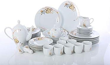 Royalford RF6017 49Pieces Porcelain Dinner Set, White, Round