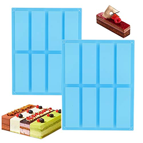 2 stampi rettangolari in silicone, per cereali e tartufi di cioccolato, muffin, pane, brownies, torta di formaggio, budini e torte, 8 tazze (blu)