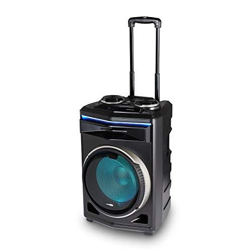 MEDION P61200 Party-Soundsystem (Mobile PA, Partylautsprecher, Karaoke, Bluetooth, Kompaktanlage, 350 Watt, 4000mAh Akku, Teleskopgriff und Rollen, Mikrofonaanschluss, USB, AUX)