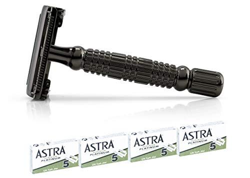 Van De Boos® Rasierhobel Gun metal inkl. 20 rasierscharfer Astra Rasierklingen - Safety Razor mit Butterfly Rasierkopf - Langlebiger Nassrasierer für Mann + Frau