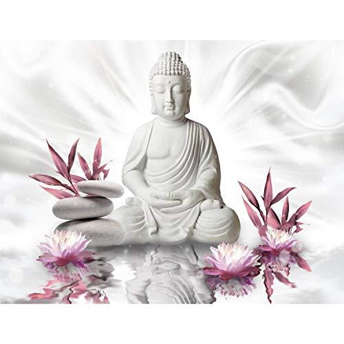 Fototapete Buddha Blumen - Vlies Wand Tapete Wohnzimmer Schlafzimmer Büro Flur Dekoration Wandbilder XXL Moderne Wanddeko - 100% MADE IN GERMANY - 9289010a
