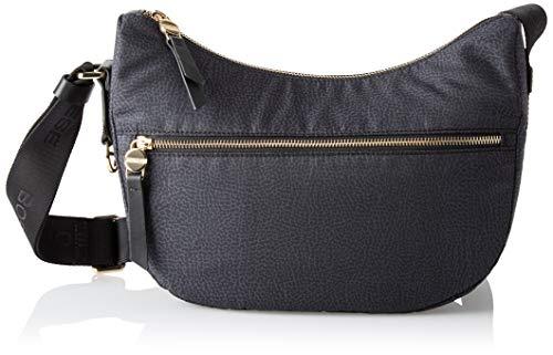Borbonese Luna Bag, Borsa a Tracolla Donna, Nero, 28x24x11 cm (W x H x...
