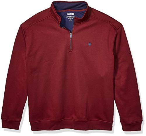 IZOD Men's Big & Tall Big and Tall Advantage Performance Quarter Zip Fleece Pullover, PORT ROYALE, Large
