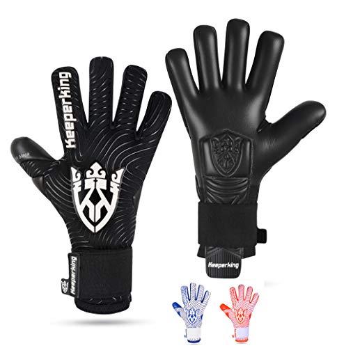 Keeperking Guantes de portero para adultos, guantes de fútbol para hombre, costuras interiores, agarre profesional, 4 mm, ajuste fijo, unisex, Jonior (8, negro), color negro
