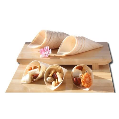 Bamboo legno Coni x100 per gli alimenti di partito , snack , stuzzichini , canapè 125X65mm