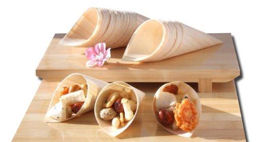 Gifts Of The Orient GOTO - Conos De Madera De Bambú X 100 Para Fiesta Alimentos, Snacks, Bocadillos, Canapé 125X65Mm