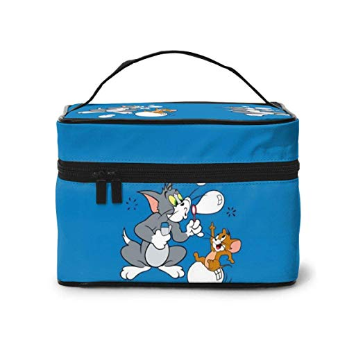 Makeup Bag, Happy Tom and Jerry Travel Portable Cosmetic Bag Large Pouch Mesh B Organizer Toiletry Bag for Women Girls