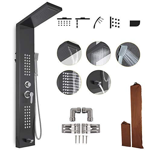Happybuy Shower Panel Tower System Stainless Steel Multi-Function Shower Panel with Spout Rainfall Waterfall Massage Jets Tub Spout Hand Shower for Home Hotel Resort Split Type Black