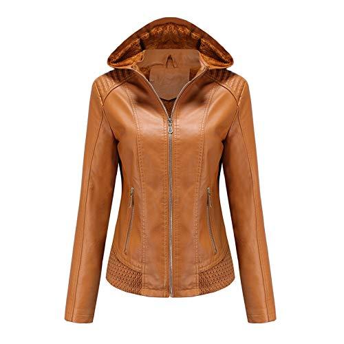 Women Hooded Plush Zipper Leather Jacket Coats Warm Velvet Detachable Outerwear Tops URIBAKE