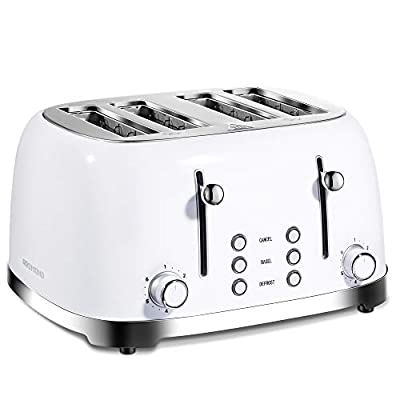 REDMOND Toaster 4 Slice, Retro Stainless Steel Toasters with Extra Wide Slots, Bagel Defrost Cancel Function, High Lift Lever, 6 Browning Settings, White, ST033