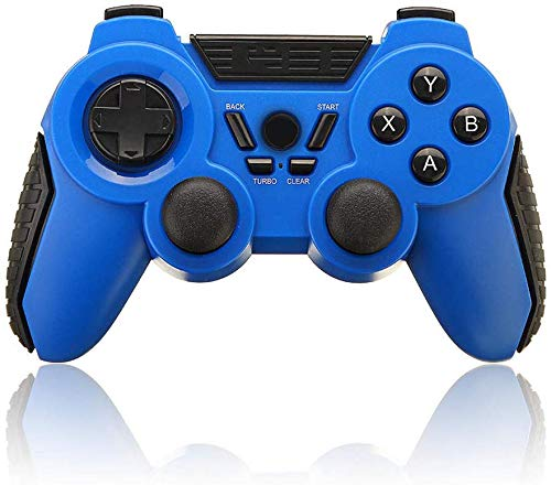 ZGYQGOO Dual-Vibration, Manette Jeu sans Fil, Manette Jeu PS4, Manette Jeu sans Fil pour contrôleur Jeu, Compatibilité avec Un Autre téléphone Android/iOS, Manette Jeu sans Fil Rechargeable, Bleu