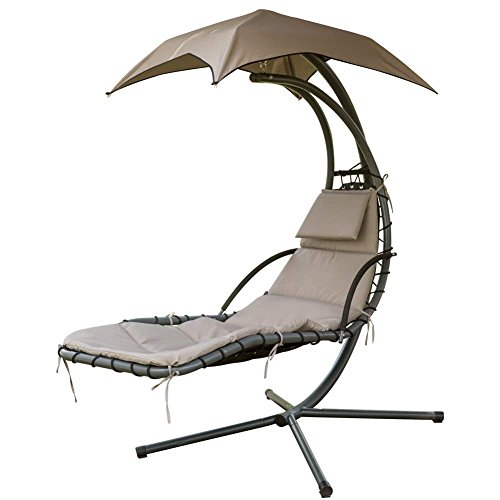 PatioPost Outdoor Hanging Chaise Lounger Chair Swing Hammock Chair Arc Stand with Built-in Pillow and Removable Canopy, 265LBS Capacity, for Backyard, Patio and More(Brown)