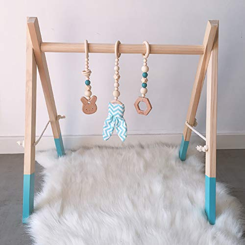 Gimnasio de madera para bebés con 3 juguetes de madera para bebés de madera juguete plegable bebé juego de marco de gimnasio gimnasio colgando bar recién nacido regalo bebé niña y niño gimnasio