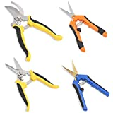 GROWNEER 4 Packs Pruning Shears Gardening Shear with Straight and Curved Blades, Handheld Pruners Set Hand Pruning Snips Professional Bypass Pruning