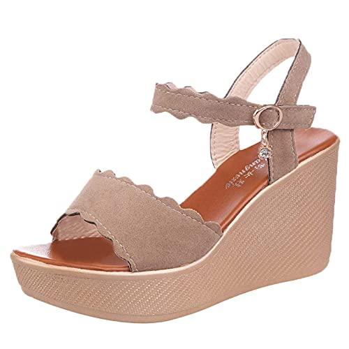 Bravetoshop Women's Platform Espadrille Wedge Sandals Sandals Ankle Strap Open Toe High Heel Dress Sandals (Pink,6 US)