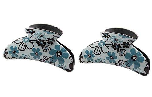 Ensemble de 2 coréen florale cheveux pinces, Vert