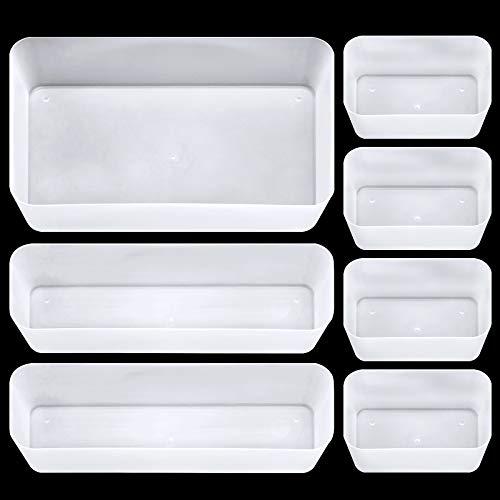 7 Piezas Bandejas organizadoras de cajones de Escritorio, separadores de cajones de plástico, Cubos de Almacenamiento de Escritorio para Maquillaje, Escritorio, baño, Oficina, Cocina (Blanco Mate)