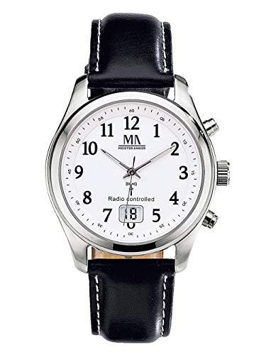 Meister Anker Herren Funkuhr mit Leder-Armband – Armbanduhr mit Analog- und Digital-Anzeige, wasserdichtes Gehäuse, in Schwarz