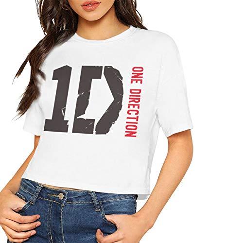 Leephen Women Crop Top One Direction Short Sleeve Shirts L White