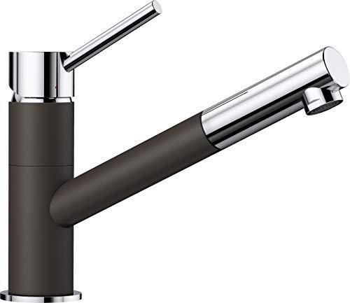 BLANCO KANO-S - Zweifarbiger Einhebelmischer für die Küche - mit ausziehbarem Auslauf - Chrom / Braun - 525043