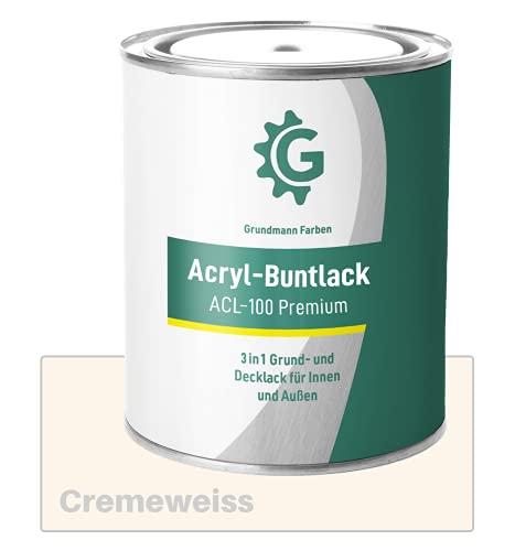 GRUNDMANN Acryllack - 3 kg Buntlack Creme - Halb Matt - Acrylfarbe, Holzfarbe, Holzanstrich, Metallfarbe - 2in1 Lackfarbe für Holz, Metall, Plastik, Kunststoff & Beton - RAL 9001 Cremeweiss