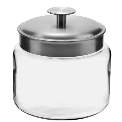 Anchor Hocking 48-Ounce Mini Montana Jars with Brushed Aluminum Metal Covers, Set of 4 by Anchor Hocking