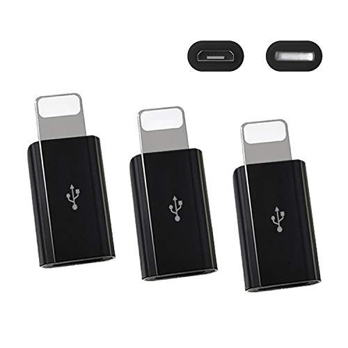 ZERKAR Micro USB a Phone Adaptador 3 Pack 8 Pines Macho a Micro USB Conversor Compatible con Phone XS/XR/X/8/7/Pod/Pad Negro