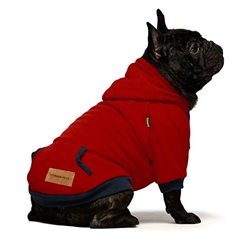 Fitwarm Pet Clothes Dog Hoodies Puppy Pullover Cat Hooded Shirts Sweatshirts Red XL