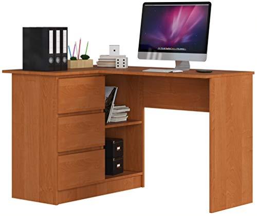 ADGO B16 - Mesa de ordenador esquinera de madera (124 x 77 x 85 cm, 3 cajones para un espacio para niños y adolescentes, taller y oficina (izquierda, aliso)