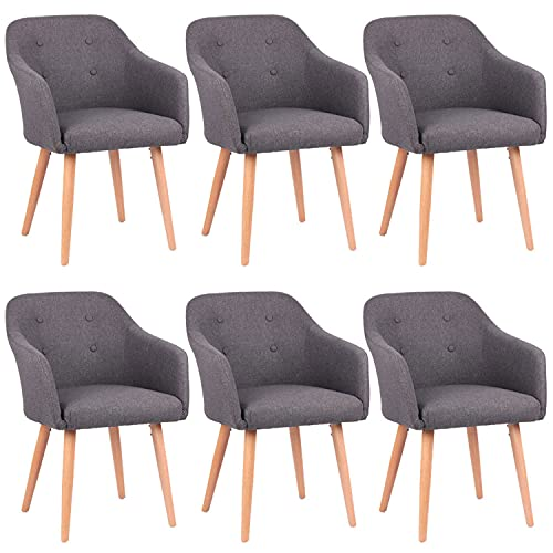 Kingpower 2/4 / 6/8 Set Stühle Esszimmerstühle Stuhl Sessel Armlehne versch. Farben, Auswahl:6 Sessel - dunkelgrau