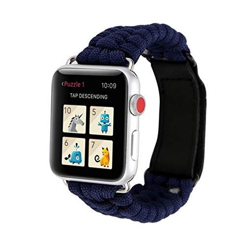 Correa de cuerda de supervivencia al aire libre para Apple Watch Band 44 mm 40 mm 42 mm 38 mm Cuero para IWatch Pulsera para Apple Watch Series 5 4 3 44 mm-Azul real, 42 mm o 44 mm