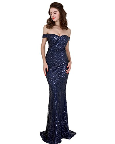 Miss ord Women's V Neck Sequined Prom Banquet Party Maxi Dress Dark Blue XS