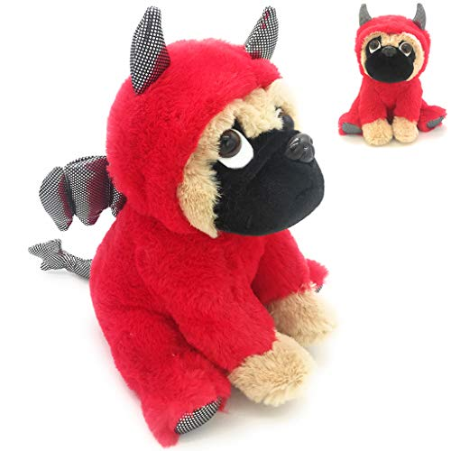Adorable Pug Stuffed Animal Dressed in a Devil Costume Plush Soft Puppy Dog with Demon Outfit | Funny Toy for Kids or Pug Lovers Halloween Day Gift Party Nursery Decors Christmas Gfit 10 Inches