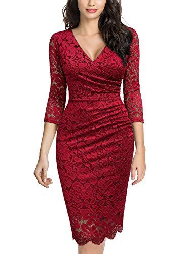 Miusol Vintage Encaje Lápiz Cuello en V Plisado Fiesta Vestido para Mujer Rojo Large