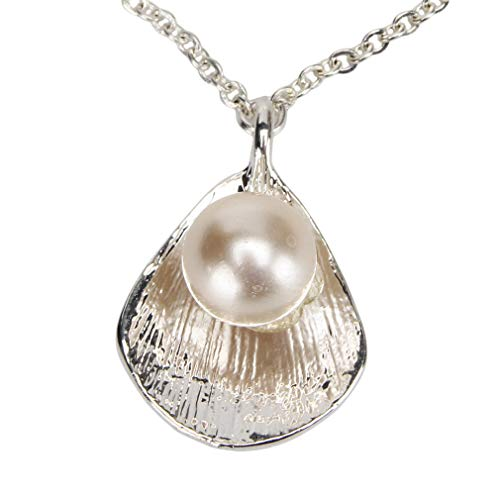 CAVIVI Women Shell Necklace Pearl Gold Marine Organism Shell Starfish Conch Necklace Chain for Girl,Silver