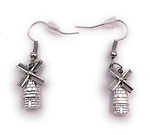 Onlineworld2013 Oorbellen paar molen bouw watermolen oorbel metalen oor sieraden