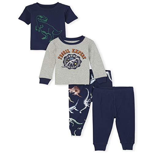 The Children's Place Conjunto de Pijama de Cuatro Piezas para niño, Azul, (Thunder Blue, 0-3 Meses