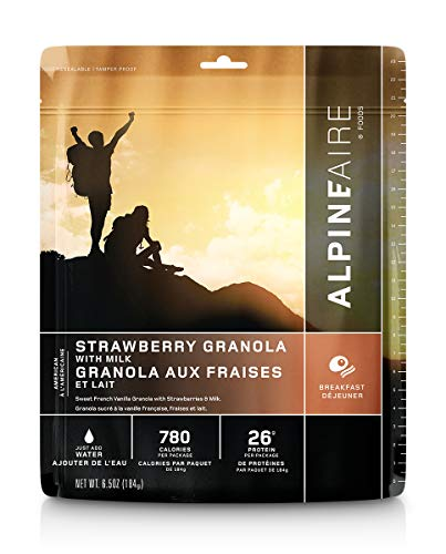 Alpine Strawberry Granola with Milk Freeze-Dried/Dehydrated Breakfast Meal Pouch, Just-add-Water,...