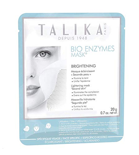 Talika Bio Enzymes Mask Brightening - Brightening Face Mask - Biocellulose Sheet Mask for Dull Complexion and Dark Spots - Second Skin Effect Beauty Face Mask