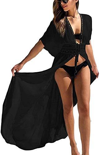 Orshoy Damen Spitze Sexy Kimono Cardigan Tops Casual Lose Bluse Shawl Sommer Boho Beach Cover up Leichte Strand Jacke Strickjacke Sommer Strand Lange Cover Up Strandkleider Schwarz
