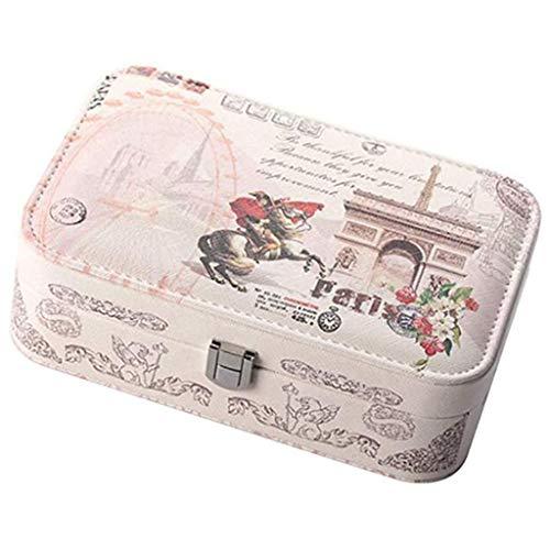 Gnaixyc Caja Joyero, Estuche De Joyas Cuero Rectangular PU Joyero Almacenamiento Organizador con Cerradura,F