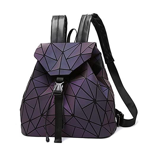 Nevenka Geometric Lingge Luminous Women Backpack Flash Colorful Travel Gym Drawstring Bags Rucksack (Colorful-Luminous, Large geometric square)