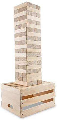 Sunny & Fun Giant Tumbling Tower   60 Piece Set Stacks to 5+ Feet   Oversized Wooden Toppling Block w/ 2-in-1 Storage Table Crate   Outdoor Stacking Game for Adults Kids   for Party Yard Lawn Backyard