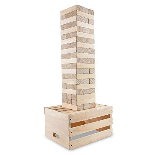 Sunny & Fun Giant Tumbling Tower | 60 Piece Set Stacks to 5+ Feet | Oversized Wooden Toppling Block w/ 2-in-1 Storage Table Crate | Outdoor Stacking Game for Adults Kids | for Party Yard Lawn Backyard