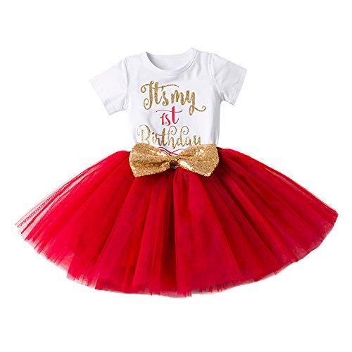 Girl Newborn It's My 1st/2nd Birthday Shinny Printed Tutu Princess Dress Outfit Set Red (1 Years)